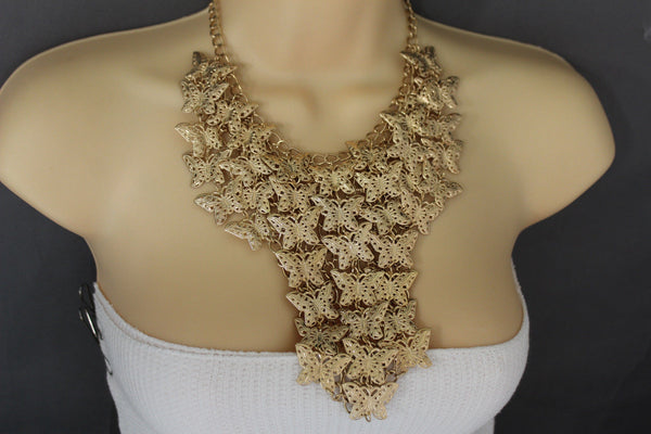 Gold Metal Long Necklace Chains Wide Multi Butterflys Matching Earring Set Fashion Women Jewelry - alwaystyle4you - 11