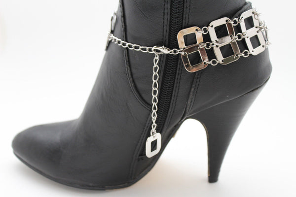 Silver Metal Boot Chains Bracelet Sqaure Geometric Anklet Bling Shoe Charm New Women Western Fashion - alwaystyle4you - 9
