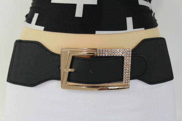 Black / Red / White / Brown Faux Leather Tie Hip Waist Belt Square Gold Rhinestones Buckle New Women Fashion Accessories M L - alwaystyle4you - 5