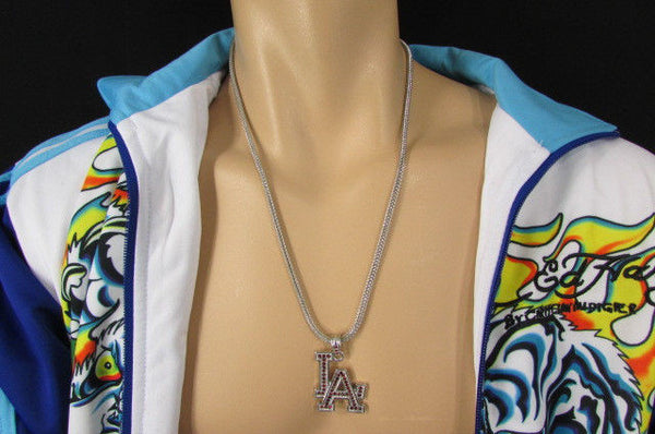 "Gold Silver Pewter Metal Chains 25"" Long Necklace Pewter Big LA Pendant New Men Fashion - alwaystyle4you - 26"