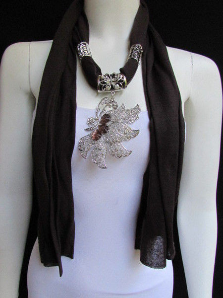 Pink Blue Black Brown Bright Coral Soft Fabric Scarf Long Necklace Big Silver Butterfly Pendant New Women Fashion - alwaystyle4you - 14