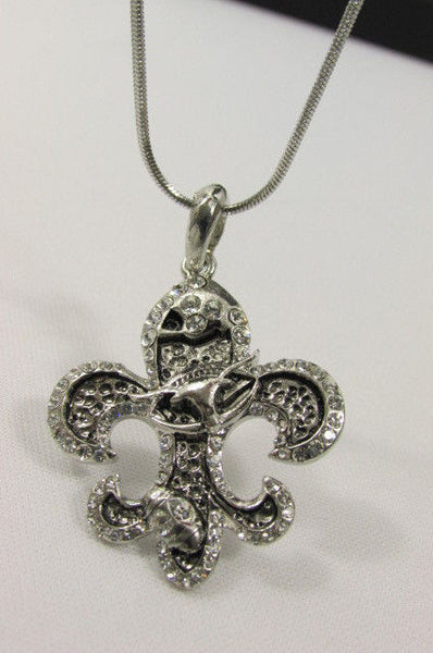 Silver Metal Fleur De Lis Lily Flower Bull Colorfull Rhinestones/ Silver Necklace New Women Fashion - alwaystyle4you - 13