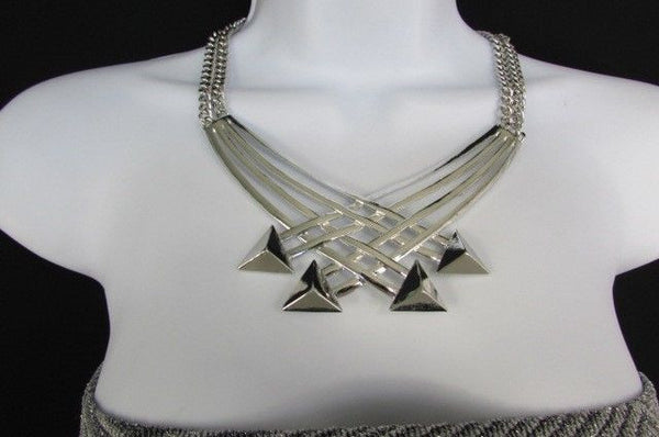"Gold Silver New Women 14"" Strands Metal Chains Fashion Necklace Arrows + Earring Set - alwaystyle4you - 18"