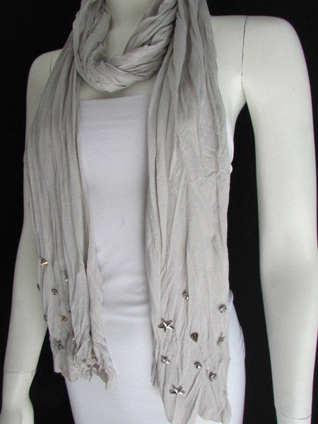 New Women Soft Fabric Fashion White / Blue /  Gray / Black Scarf Long Necklace Silver Metal Stars Studs - alwaystyle4you - 25