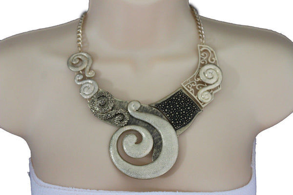 Gold Silver Copper Metal Chain Snail PendantNecklace New Women Fashion + Earrings Set - alwaystyle4you - 15