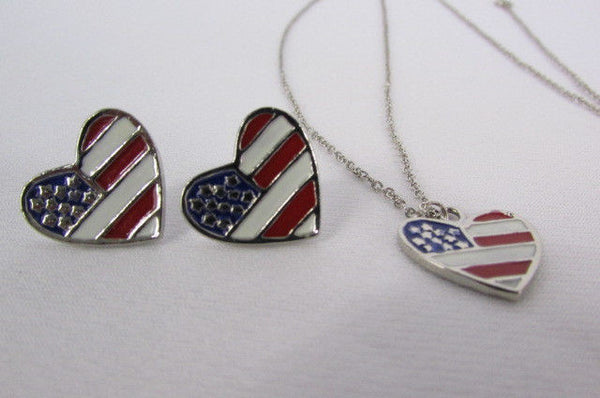 USA American Flag Star/Square/Heart Silver Metal Necklace + Matching Earring Set New Women - alwaystyle4you - 19