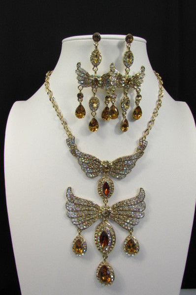Metal Flying Wings Gold Silver Rhinestones Necklace + Earrings set New Women Fashion - alwaystyle4you - 18
