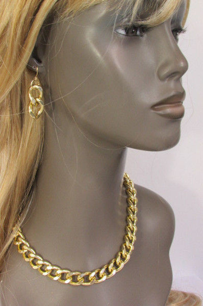 Gold / Silver Chunky Metal Thick Chain Links Hip Hop Necklace +Earring Set New Women Fashion - alwaystyle4you - 18