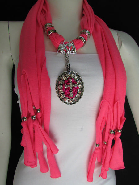 Blue Pink Beads Fabric Scarf Long Necklace Rhinestones Cross Pendant New Women Fashion - alwaystyle4you - 13