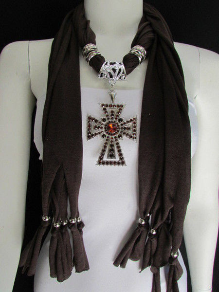 New Women Soft Fabric Dark Brown / Pink Scarf Necklace Western Rhinestones Cross Pendant - alwaystyle4you - 13