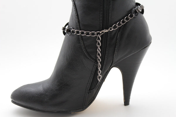 Silver Gunmetal / Pewter Metal Boot Chains Bracelet Bow Oval Anklet Bling Shoe Charm New Women Western - alwaystyle4you - 16