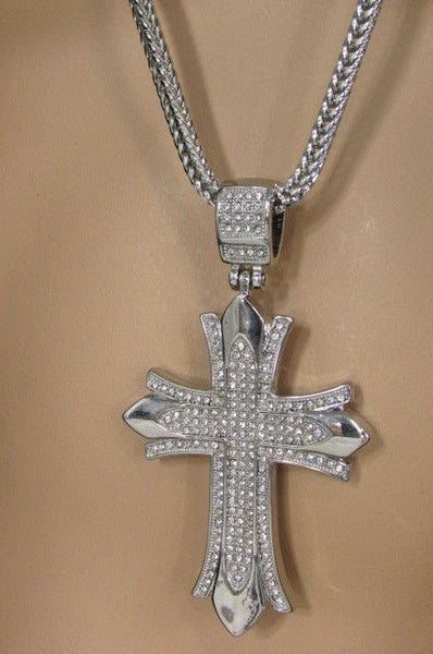 "Silver / Gold Metal Chain 35"" Long Fashion Necklace  Large Cross Pendant New Men - alwaystyle4you - 20"