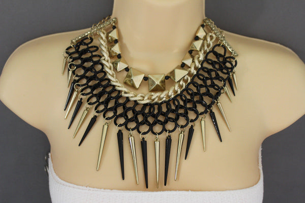 Gold / Black Gold Long Metal Chain Strand Spikes Charm Necklace + Earring Set New Women Fashion Jewelry - alwaystyle4you - 13
