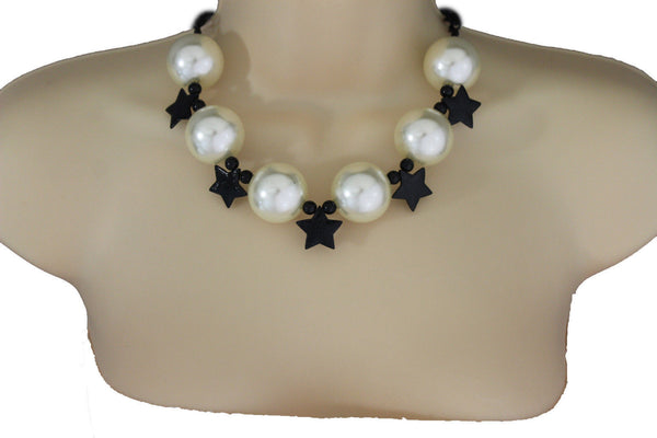 Black / Silver / Gold / Red / White Metal Stars Ball Beads Short Ivory Necklace + Earring Set New Women Fashion Jewelry - alwaystyle4you - 1