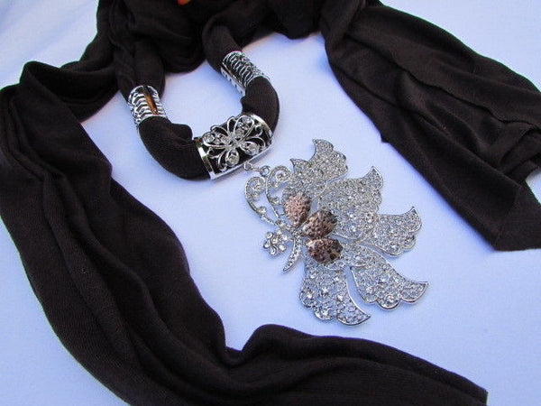 Pink Blue Black Brown Bright Coral Soft Fabric Scarf Long Necklace Big Silver Butterfly Pendant New Women Fashion - alwaystyle4you - 15