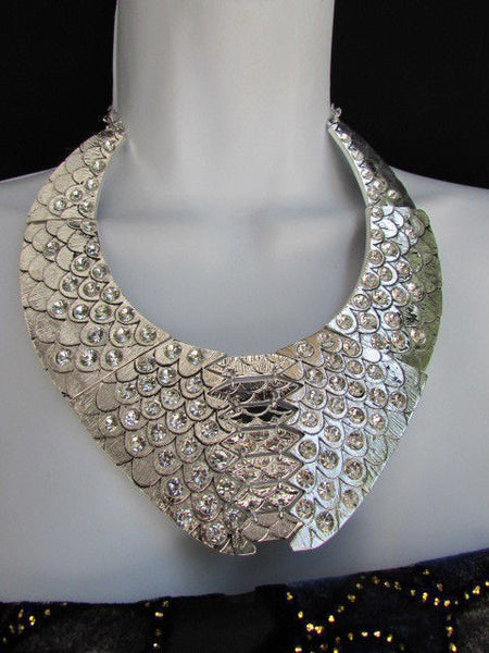 Gold /  Silver Metal Plates Snake Skin Rhinestones Necklace + Earrings Set New Women Fashion - alwaystyle4you - 15