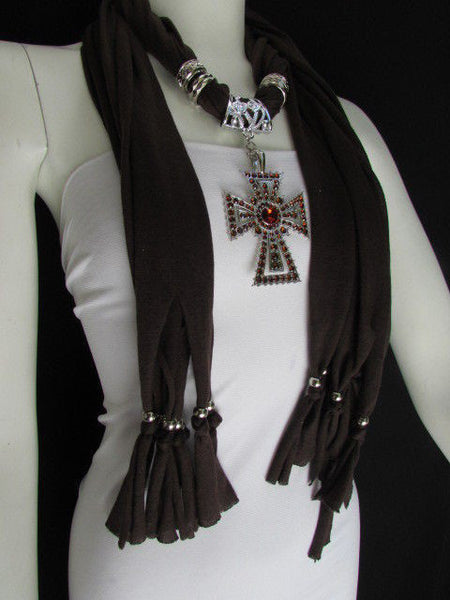 New Women Soft Fabric Dark Brown / Pink Scarf Necklace Western Rhinestones Cross Pendant - alwaystyle4you - 14