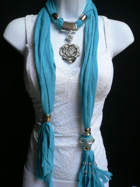 Gray / Red / L. Purple / L. Blue New Women Necklace Scarf Moroccan Fashion Soft Fabric Long Silver Flower Pendant Charm - alwaystyle4you - 14
