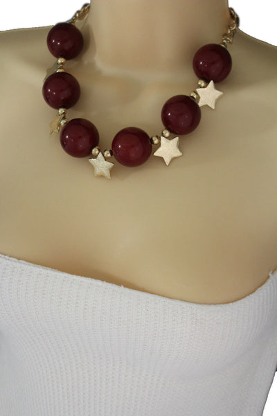 Black / Silver / Gold / Red / White Metal Stars Ball Beads Short Ivory Necklace + Earring Set New Women Fashion Jewelry - alwaystyle4you - 41