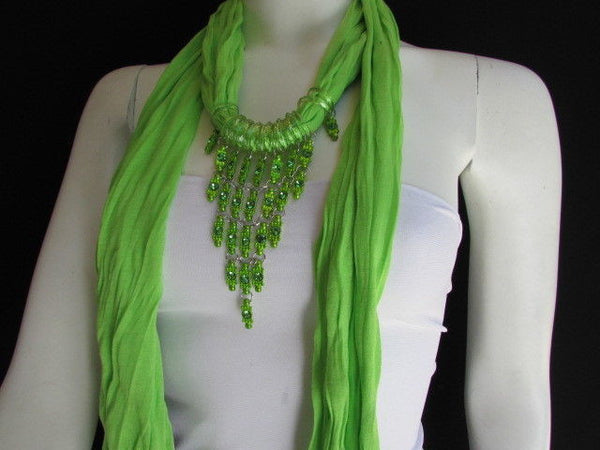 Black White Blue Purple Light Pink Lavander Lime Green Soft Scarf Long Necklace Triangle Big Rhinestones Pendant Women Fashion - alwaystyle4you - 71