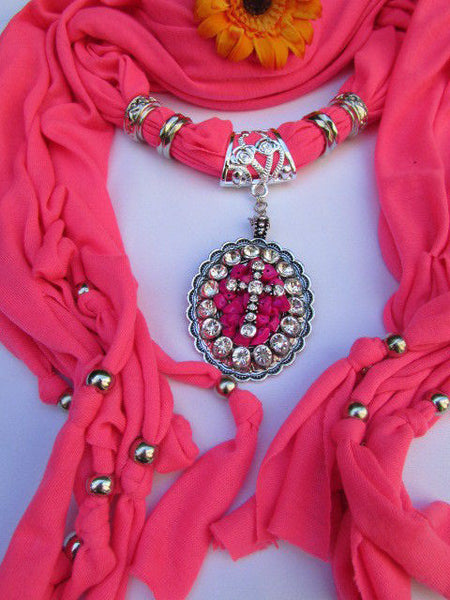 Blue Pink Beads Fabric Scarf Long Necklace Rhinestones Cross Pendant New Women Fashion - alwaystyle4you - 14
