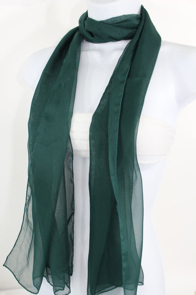 Dark Brown Dark Green Dark Blue Brown Neck Scarf Long Soft Sheer Fabric Tie Wrap Classic New Women Fashion - alwaystyle4you - 14