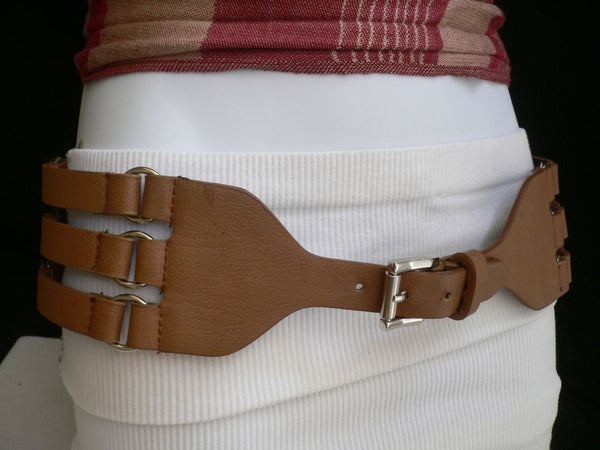 Aqua Blue Taupe Light Brown Black Red Faux Leather Elastic Hip Waist Belt Silver Buckle And Rings Rib Cage Women Fashion Accessories S M - alwaystyle4you - 25