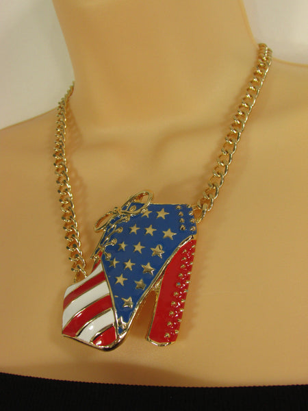 Large Metal High Heels Shoes Pendant Fashion Chains Gold / Silver Rhinestones American Flag USA Stars Necklace + Earrings Set - alwaystyle4you - 18