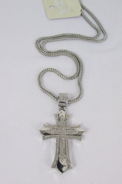 "Silver / Gold Metal Chain 35"" Long Fashion Necklace  Large Cross Pendant New Men - alwaystyle4you - 21"