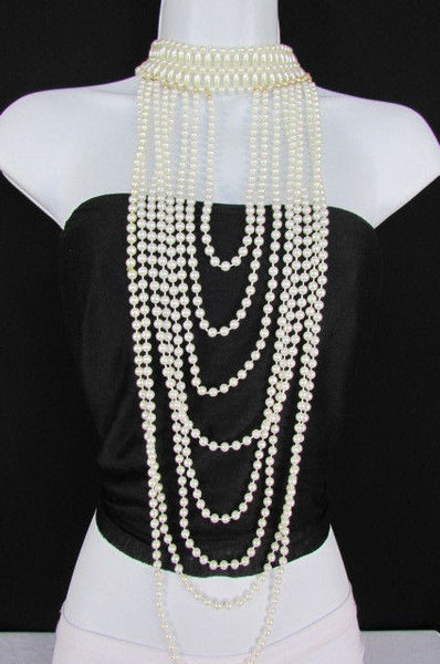 White Beads Extra Long 8 Strands Choker Necklace New Women Fashion Jewelry Accessories