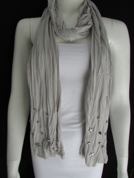New Women Soft Fabric Fashion White / Blue /  Gray / Black Scarf Long Necklace Silver Metal Stars Studs - alwaystyle4you - 26
