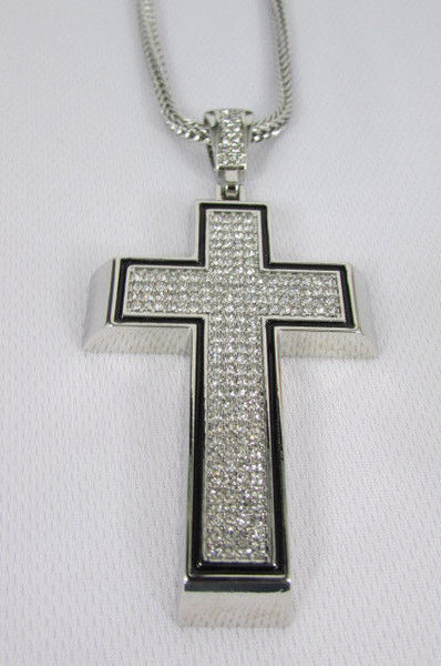 Pewter / Silver Metal Chains Long Necklace Boarded Cross Pendant New Men Hip Hop Fashion - alwaystyle4you - 19