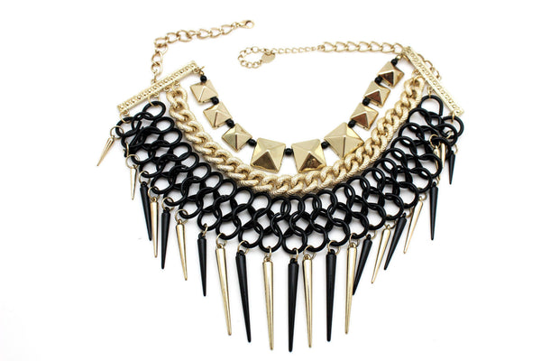 Gold / Black Gold Long Metal Chain Strand Spikes Charm Necklace + Earring Set New Women Fashion Jewelry - alwaystyle4you - 14