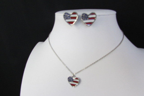 USA American Flag Star/Square/Heart Silver Metal Necklace + Matching Earring Set New Women - alwaystyle4you - 21