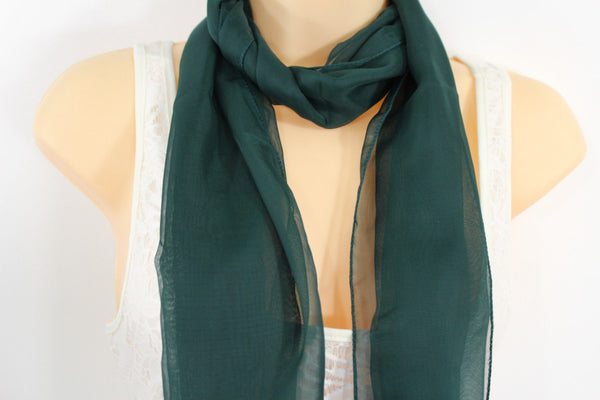 Dark Brown Dark Green Dark Blue Brown Neck Scarf Long Soft Sheer Fabric Tie Wrap Classic New Women Fashion - alwaystyle4you - 15