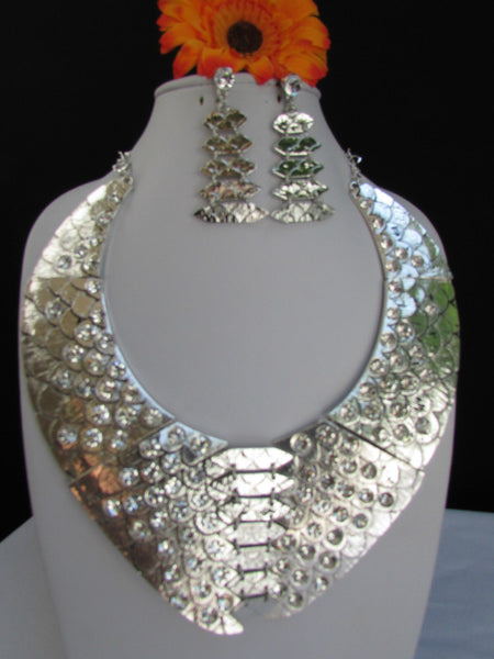 Gold /  Silver Metal Plates Snake Skin Rhinestones Necklace + Earrings Set New Women Fashion - alwaystyle4you - 16