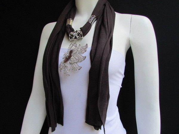 Pink Blue Black Brown Bright Coral Soft Fabric Scarf Long Necklace Big Silver Butterfly Pendant New Women Fashion - alwaystyle4you - 16