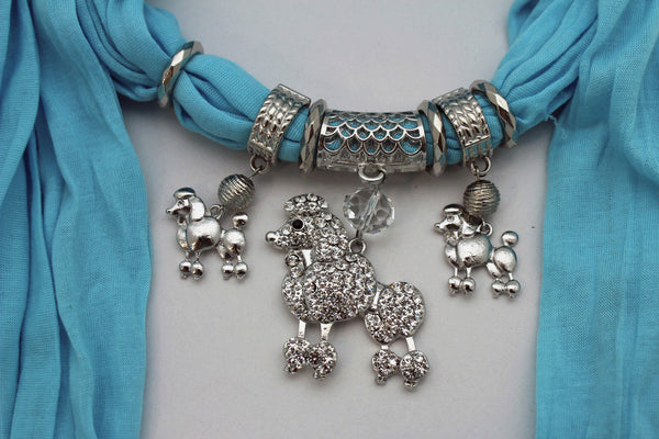 Blue, Black, L. Pink, Pink Fuscia Soft Fabric Scarf Silver Metal Poodle Dog Pendant New Women Fashion - alwaystyle4you - 25
