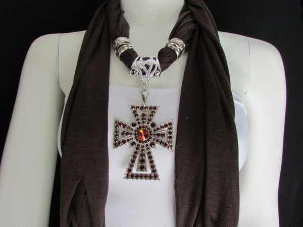 New Women Soft Fabric Dark Brown / Pink Scarf Necklace Western Rhinestones Cross Pendant - alwaystyle4you - 15