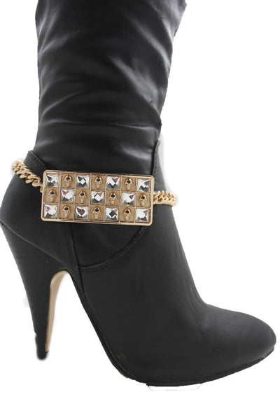 Silver Gold Metal Plate Chain Mini Skulls Bling Anklet Shoe Charm New Women Boot Bracelet Jewelry - alwaystyle4you - 15