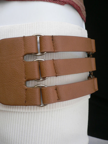 Aqua Blue Taupe Light Brown Black Red Faux Leather Elastic Hip Waist Belt Silver Buckle And Rings Rib Cage Women Fashion Accessories S M - alwaystyle4you - 26