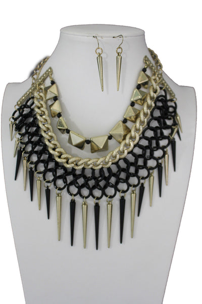 Gold / Black Gold Long Metal Chain Strand Spikes Charm Necklace + Earring Set New Women Fashion Jewelry - alwaystyle4you - 15