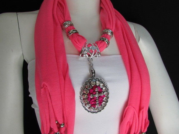 Blue Pink Beads Fabric Scarf Long Necklace Rhinestones Cross Pendant New Women Fashion - alwaystyle4you - 15