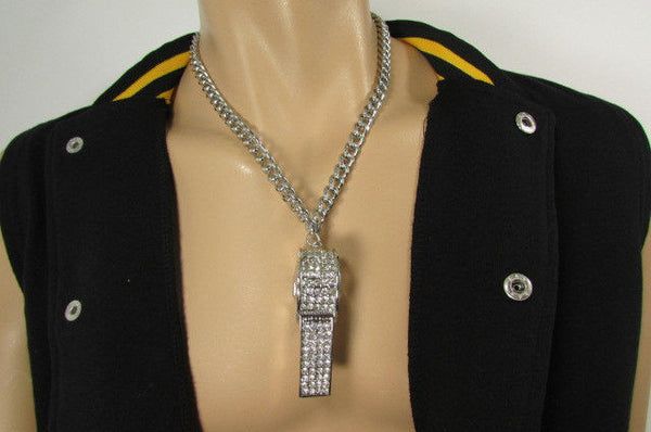 Silver Gold Metal Chains Necklace / Large Whistle Rhinestones Pendant New Men Women Fashion - alwaystyle4you - 5