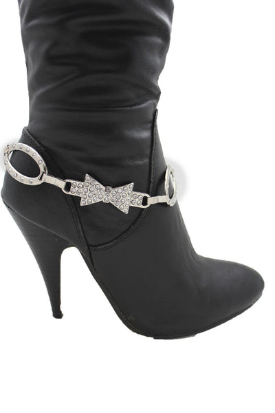 Silver Gunmetal / Pewter Metal Boot Chains Bracelet Bow Oval Anklet Bling Shoe Charm New Women Western - alwaystyle4you - 18