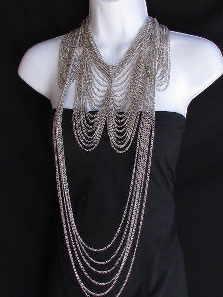 Long Gold / Silver Two Elegant Necklaces + Earring Set Thin Links New Women Fashion Jewelry - alwaystyle4you - 15