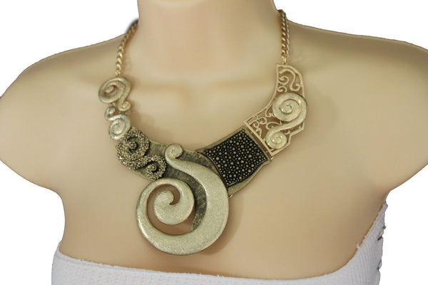 Gold Silver Copper Metal Chain Snail PendantNecklace New Women Fashion + Earrings Set - alwaystyle4you - 2