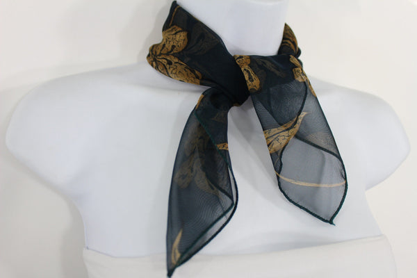 Dark Green Brown Small Neck Soft Scarf Fabric White Flower Pocket Square New Women Fashion - alwaystyle4you - 15