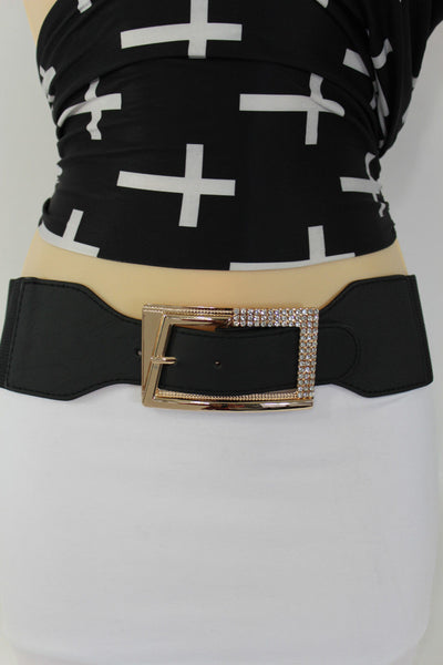 Black / Red / White / Brown Faux Leather Tie Hip Waist Belt Square Gold Rhinestones Buckle New Women Fashion Accessories M L - alwaystyle4you - 13