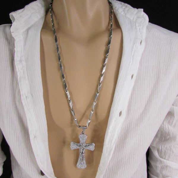 Silver Stainless Steel Metal Chain Links Necklace 3D Gold / Silver Cross Pendant New Men Classic Fashion - alwaystyle4you - 15